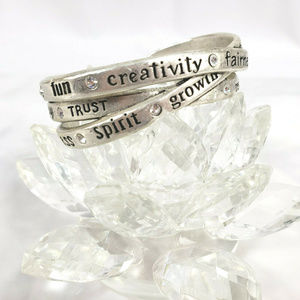 Chico's Silver Tone Cuff Bracelet Inspirational